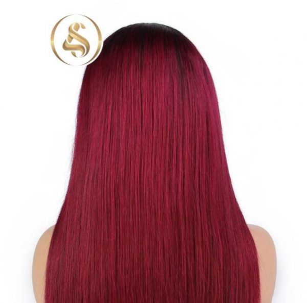 """Nia – 4"""" Ombre Red Straight Lace Front Human Hair Wig"""