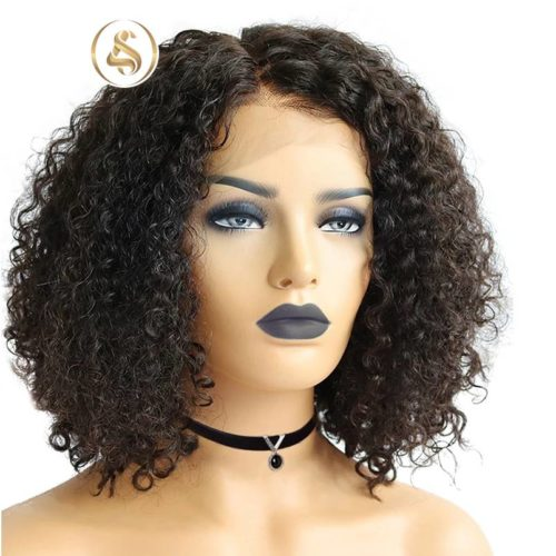 "Cindy - Short curly 6"" Deep Part Lace Front Human Hair Wig"